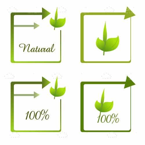 100% Natural Tags in Green