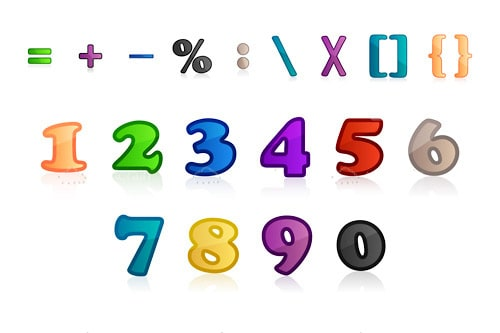Colorful Numbers, Symbols and Characters