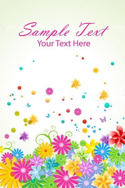 Floral Vector Background with Sample