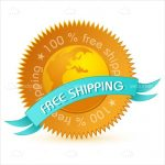 100% Free Shipping Badge in Gold