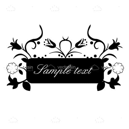 Black and White Floral Card Design with Sample Text