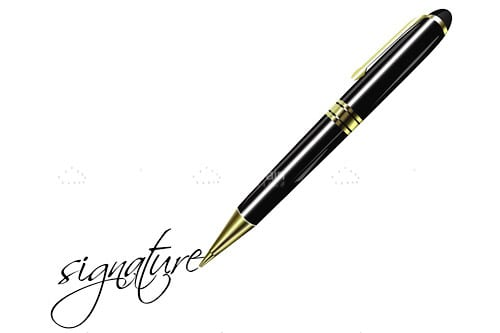 Black and Gold Pen with Stylised Signature Text