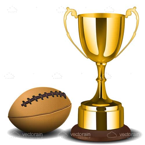 Golden Trophy Cup with Football