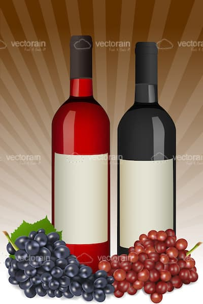 Pair of Wine Bottles with Grapes