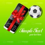 Mobile Phone with a Red Bow and Football with Sample Text