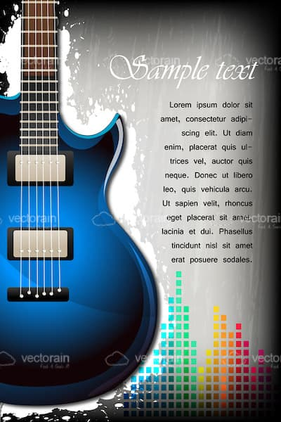 Guitar and Equalizer Background with Sample Text