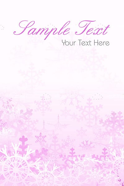 Pink Snowflake Card Background with Sample Text