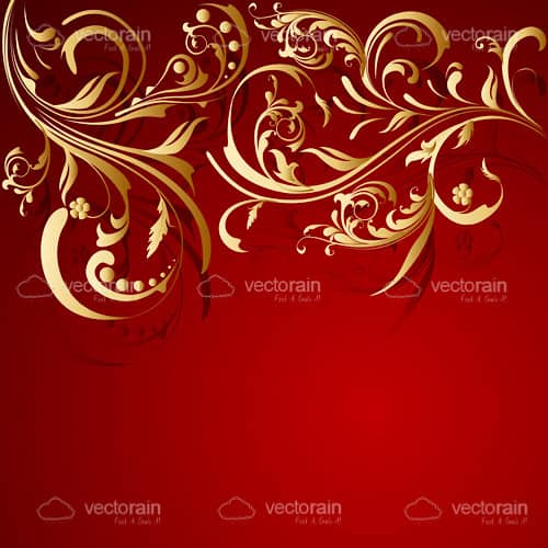 Gold and Red Abstract Floral Background