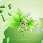 Bunch of Leaves in Closeup with World Map Background