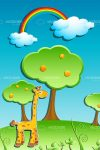Natural Scene with Giraffe in Digital Drawing Style