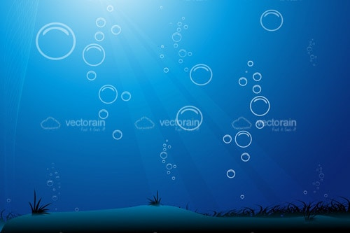 Under Water Background in Blue with Water Bubbles