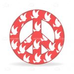 Peace Sign in Red with White Doves Print