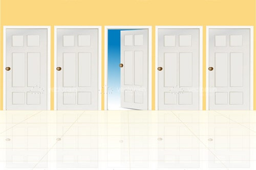 5 Doors in a Row with the Centre Door Open