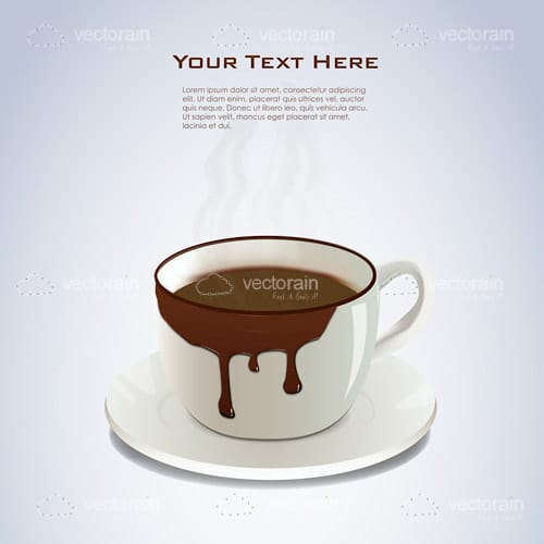 Overflowing Coffee Cup with Sample Text