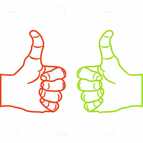 Sketched Green and Red Thumbs Up