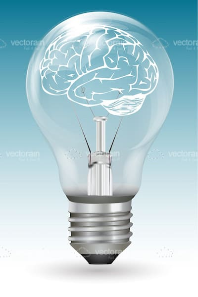 lightbulb with a brain inside vectorjunky free vectors icons