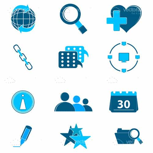Blue Web Elements Icon Pack