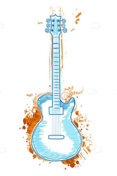 Illustrated Blue Guitar on Orange Splashed Background