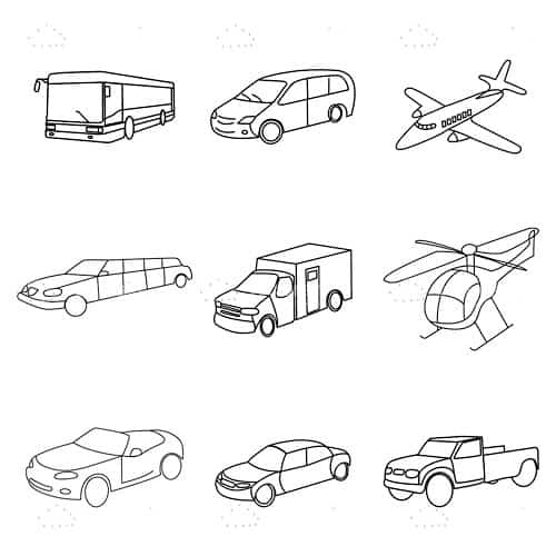 Sketched Vehicle Icon Pack