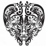 Abstract Floral Design in Black on White
