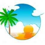 Sunny Beach Scene in Sphere Graphic