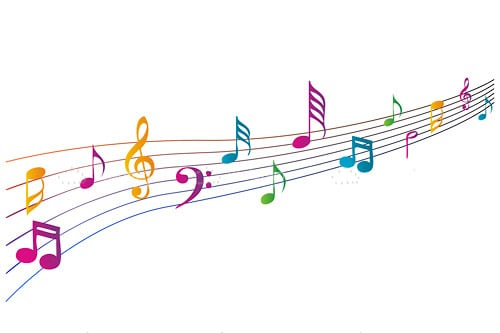 Wavy Pentagram with Colourful Musical Notes - Vectorjunky ...  Wavy Pentagram ...
