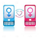 Blue and Pink Mobile Phones with Male and Female Symbols