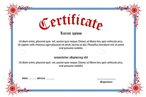 Certificate Background with Sample Text