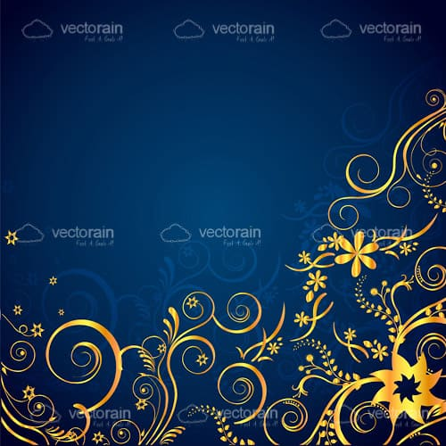 Elegant Floral Background in Gold and Blue
