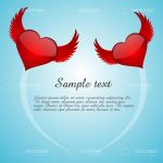 Flying Hearts with Wings and Sample Text