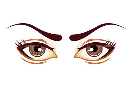 Brown Illustrated Female Eyes