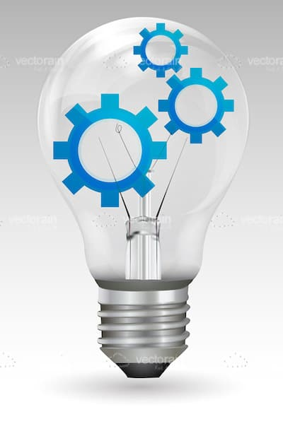 Glass Light Bulb with Blue Gears Inside