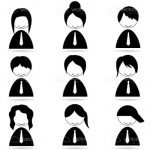 Abstract People with Different Hair Styles Icon Set