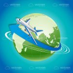 Airplane Flying Around Globe
