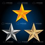 Abstract Gold, Silver and Bronze Stars