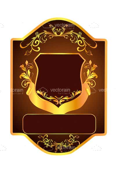 Brown and Gold Shield with Floral Pattern