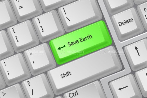 Keyboard Closeup with Save Earth Key