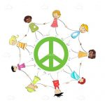 Peace Symbol with Kids Holding Hands in a Circle