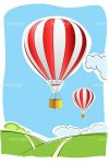 Hot Air Balloons over Country Scene