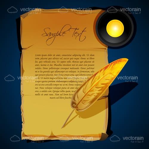 Old Parchment Paper, Writing Feather and Candle, with Sample Text