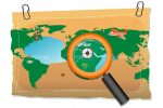 World Map with Compass and Magnifying Glass