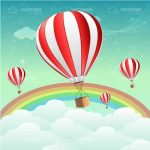 Hot Air Balloons on Sky with Rainbow