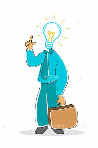 Businessman with Lightbulb for Head