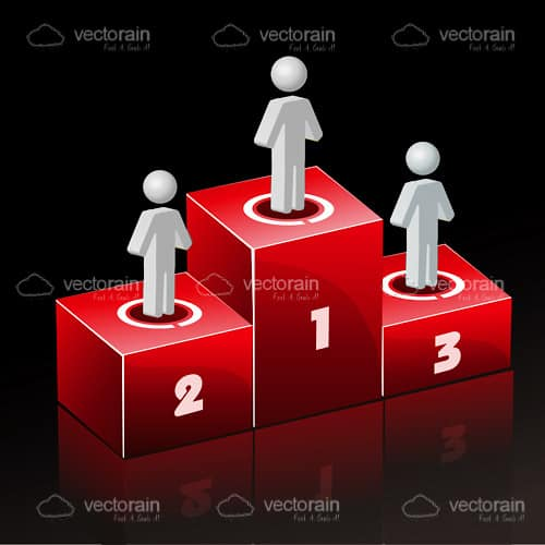 Abstract People on Ranking Podium with 1st, 2nd and 3rd Place