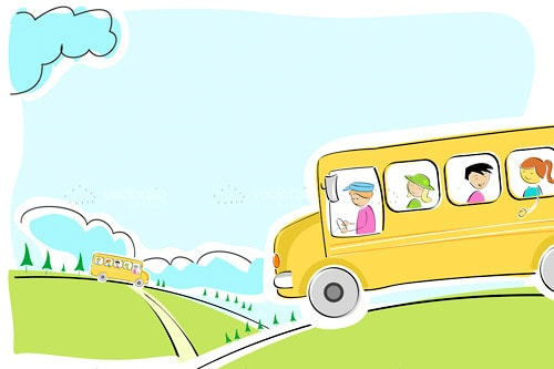 Illustrated School Bus in a Country Lane