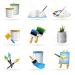 Colorful Painting Icons Set