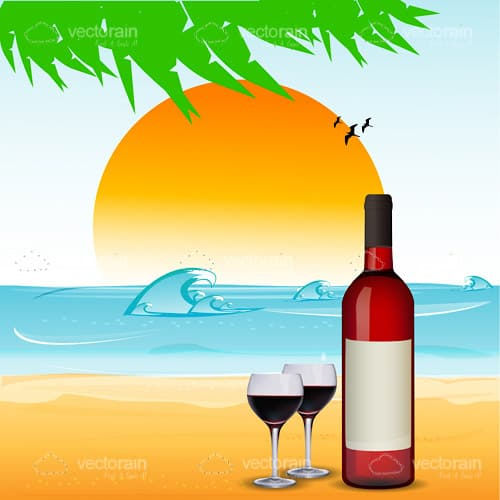 Wine Bottle And Glasses On Beach Scene