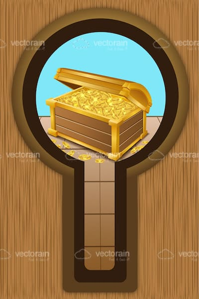 Treasure Chest with Golden Coins with 'Through Keyhole' Perspective