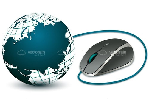 Globe and Computer Mouse with Blue Green Details