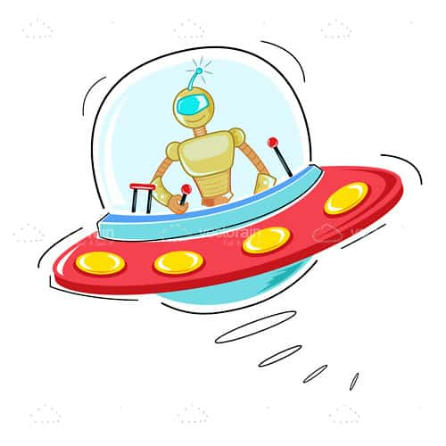 Illustrated Cartoon Robot in a Spaceship
